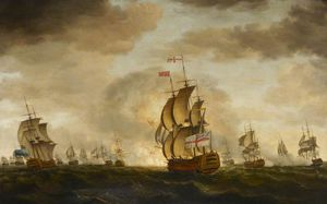 Order Painting Copy : The Moonlight Battle Off Cape St Vincent by Francis Holman (1729-1784, United Kingdom) | WahooArt.com