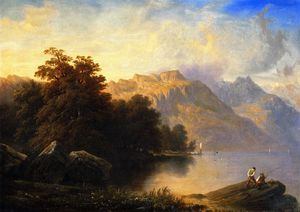 Francois Diday - A Swiss Lake Scene