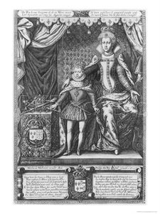 Francois The Elder Quesnel - Queen Marie De Medicis And Louis Xiii As A Child Engraved