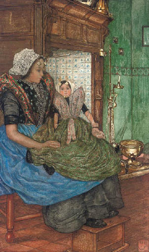 Buy Museum Art Reproductions | Mothers Are Raising Children by Frederick Cayley Robinson (1862-1927, United Kingdom) | WahooArt.com