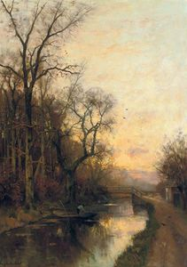 Fredericus Jacobus Van Rossum Du Chattel - On The Canal At Sunset