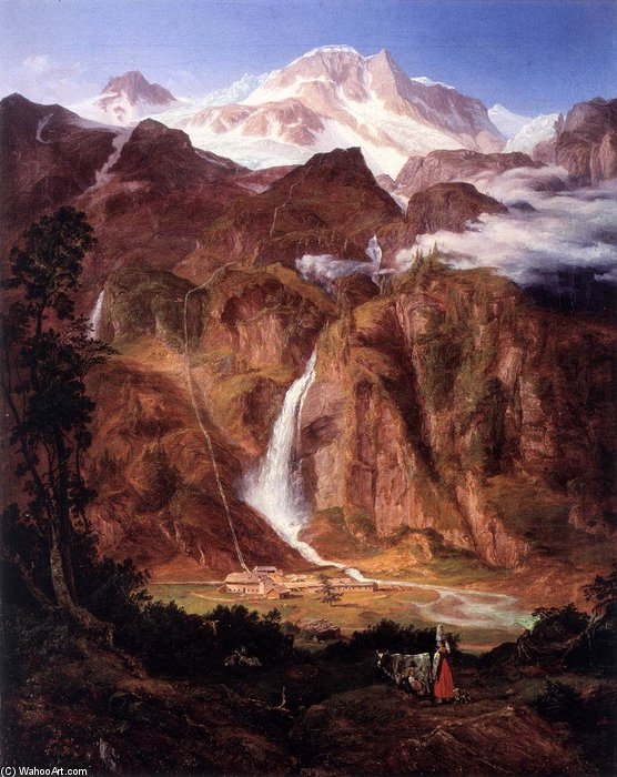 Kolm Saigurn In The Rauris Valley With The Sonnblick by Friedrich Loos  (order Fine Art painting copy Friedrich Loos)