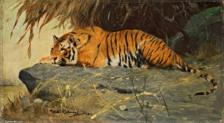 Auf Felsplateau Liegender Tiger by Friedrich Wilhelm Kuhnert (1865-1926, Poland) | Museum Quality Reproductions | WahooArt.com