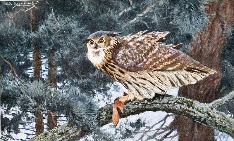 Eagle-owl by Friedrich Wilhelm Kuhnert (1865-1926, Poland) | Famous Paintings Reproductions | WahooArt.com