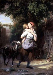 Fritz Zuber Buhler - A Mother And Child With A Goat -