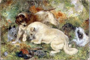 George Armfield (Smith) - Terriers And Rabbits In A Wood