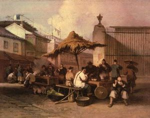 George Chinnery - A Group Of Chinese Eating Outside Church Of San