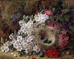 Order Art Reproduction : A Bird`s Nest And Blossom by George Clare (1835-1890, United Kingdom) | WahooArt.com