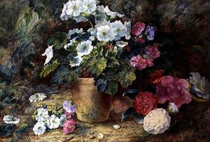 George Clare - A Still Life Of Pelargoniums In A Pot With Camellias