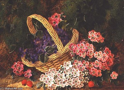Basket Of Flowers by George Clare (1835-1890, United Kingdom) | Painting Copy | WahooArt.com