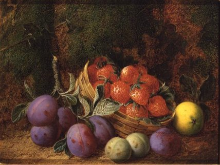 Plums And Stawberries by George Clare (1835-1890, United Kingdom) | Museum Quality Reproductions | WahooArt.com