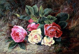 Order Oil Painting : Roses by George Clare (1835-1890, United Kingdom) | WahooArt.com
