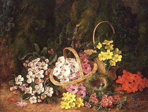 George Clare - Spring Flowers In Baskets
