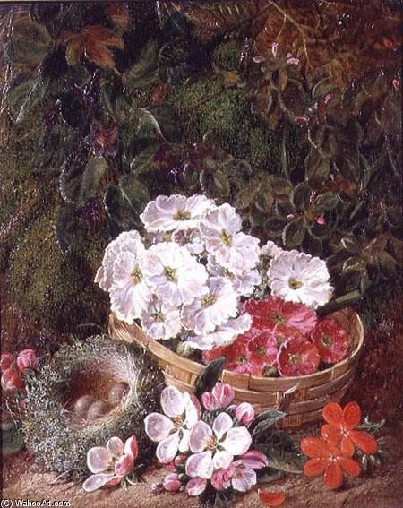 Order Painting Copy : Still Life Of Apple Blossom And Violets With Primulas In Wicker Basket by George Clare (1835-1890, United Kingdom) | WahooArt.com