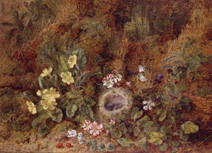 George Clare - Still Life With Bird's Nest And Wild Flowers