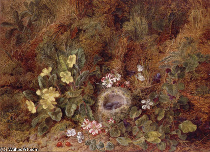 Still Life With Bird`s Nest And Wild Flowers by George Clare (1835-1890, United Kingdom) | Oil Painting | WahooArt.com