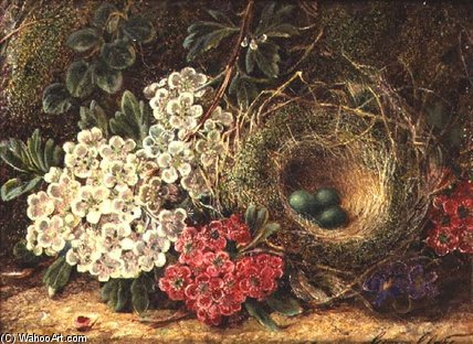 Still Life With Bird`s Nest by George Clare (1835-1890, United Kingdom) | Painting Copy | WahooArt.com