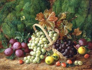 George Clare - Still Life With Plums, Apples And Baskets Of Grapes