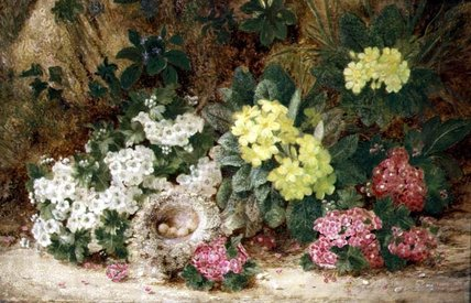 Still Life With Primroses by George Clare (1835-1890, United Kingdom) | Oil Painting | WahooArt.com