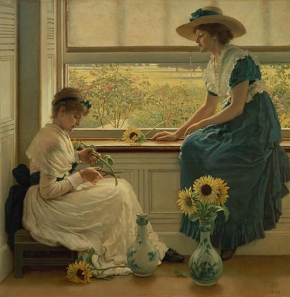 Sun And Moon Flowers by George Dunlop Leslie (1835-1921, United Kingdom)