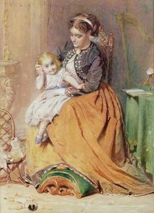 George Elgar Hicks - A Girl Sitting On Her Mother's