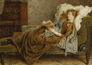 George Goodwin Kilburne - A Young Lady Reading In An Interior
