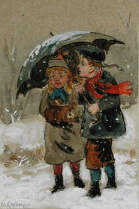 George Goodwin Kilburne - Children Playing In The Snow -