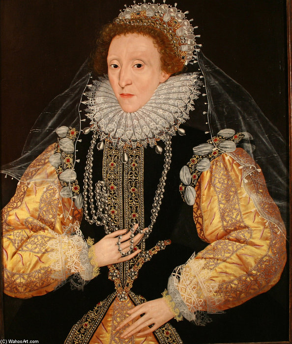 Portrait Of Queen Elizabeth I The Drewe Portrait by George Gower (1540-1596, United Kingdom)