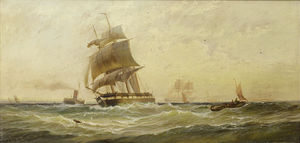 George Gregory - Running Down The Channel In A Fair Wind As She Clears The Stern Of The Ferry