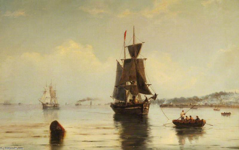 Shipping Off Ryde by George Gregory (1849-1938) | Paintings Reproductions George Gregory | WahooArt.com