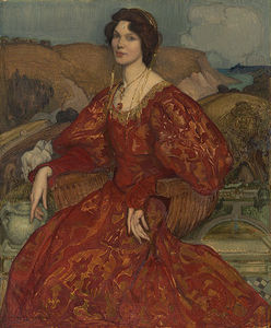 George Lambert - Sybil Waller In A Red And Gold Dress