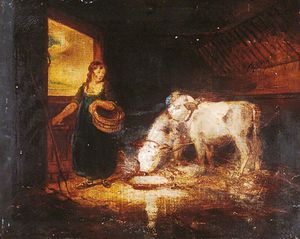 George Morland - A Girl With Two Calves