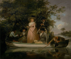 George Morland - A Party Angling