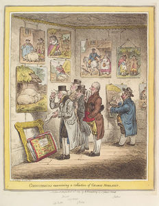 George Morland - Connoisseurs Examining A Collection Of George Moreland's