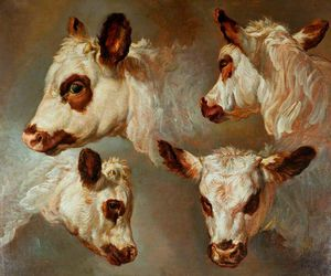 George Morland - Four Studies Of Heads Of Cattle