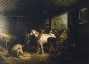 George Morland - Inside Of A Stable
