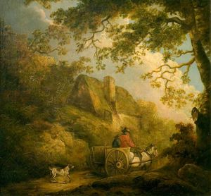 George Morland - Landscape And A Cottage