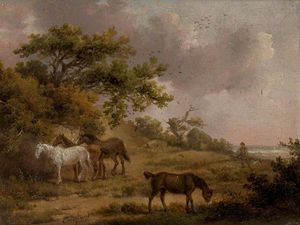 George Morland - Landscape With Four Horses