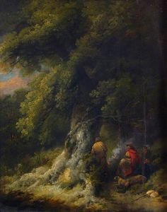 George Morland - Landscape With Gypsy Figures At A Fire In A Wood