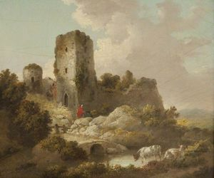 George Morland - Landscape With Ruined Castle