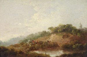 George Morland - Pond With A Woody Escarpment, With Figures