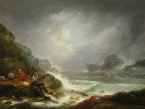 George Morland - Shipwreck Off A Rocky Coast