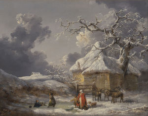 George Morland - Winter Landscape With Figures