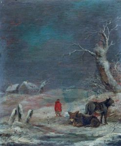 George Morland - Winter Scene With Women And Donkeys