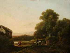 George Morland - Wooded Landscape With Figures