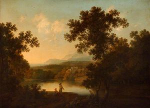 George Smith - A Landscape With Views Of A Ruined Castle And A Distant Town Seen Over Water