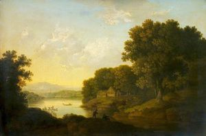 George Smith - Lake Scene With A Boat And Anglers