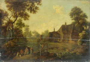 George Smith - Landscape With A Footbridge