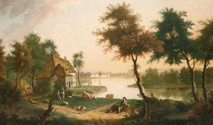 George Smith - River Landscape With A Drover In The Foreground