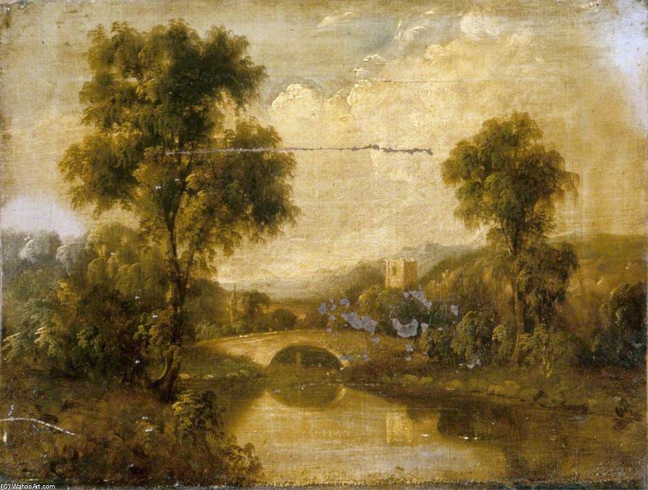 River Landscape by George Smith (1713-1776, United Kingdom) | Painting Copy | WahooArt.com
